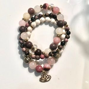 Stack of 3 Bead Bracelets Blush and Plum